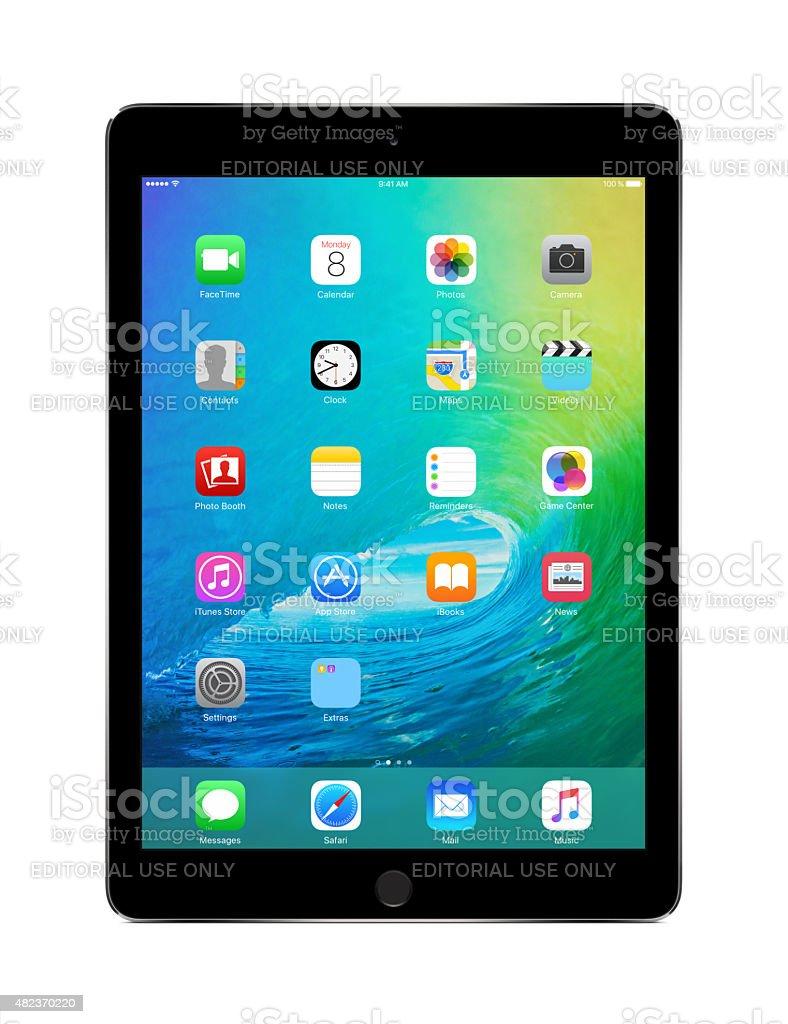 Apple Space Gray iPad Air 2 with iOS 9 stock photo
