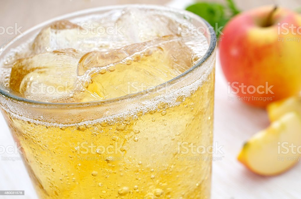 Apfelschorle Apple juice spritzer stock photo