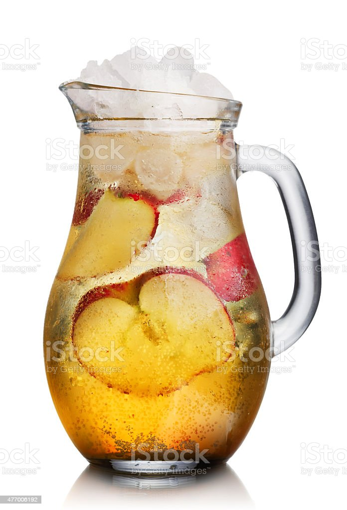 Apple spritzer (apfelschorle) pitcher stock photo