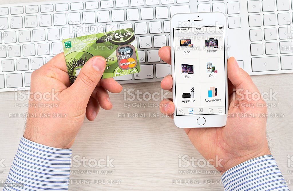 Apple Store application on iPhone 6 device display stock photo