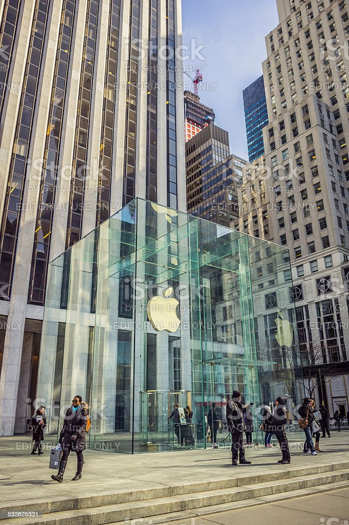 Apple Store at 5th Avenue, New York City stock photo