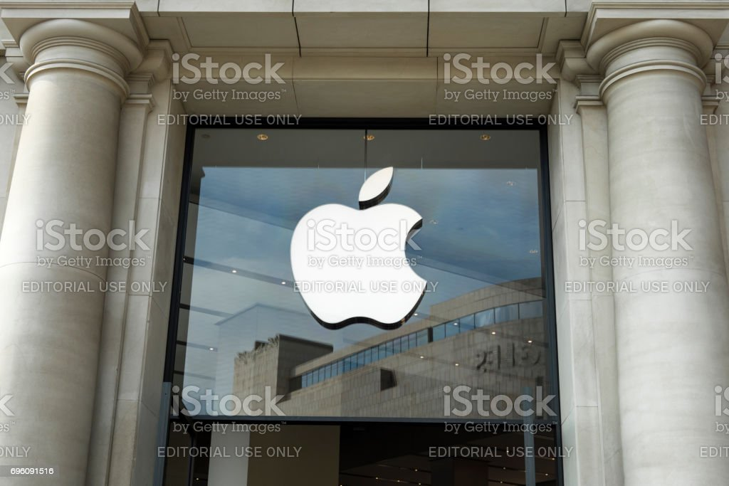 Apple Store At Catalonia Square (Plaza Catalunya) in Barcelona in a neoclassic architecture building stock photo