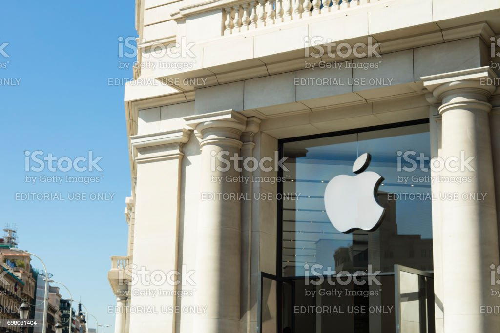 Apple Store At Catalonia Square (Plaza Catalunya) in Barcelona stock photo