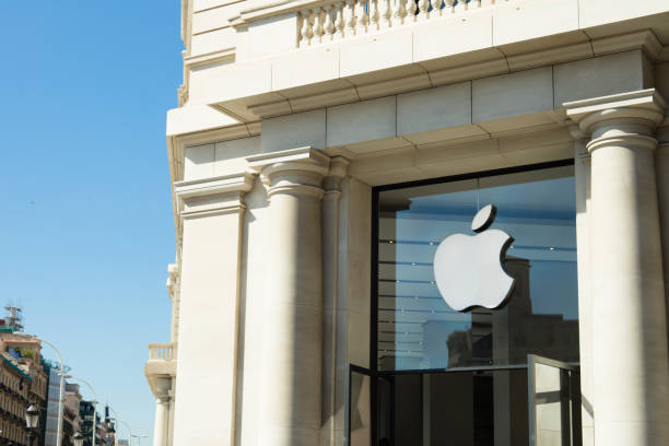 Apple Store At Catalonia Square (Plaza Catalunya) in Barcelona stock photo