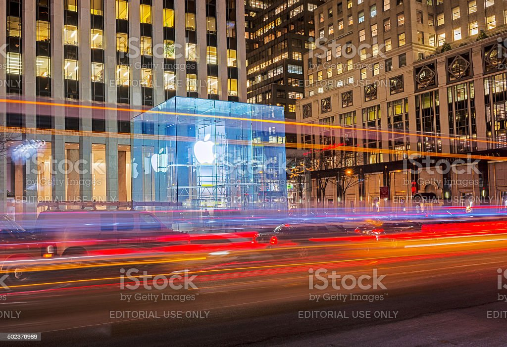 Apple Store at Night in New York stock photo