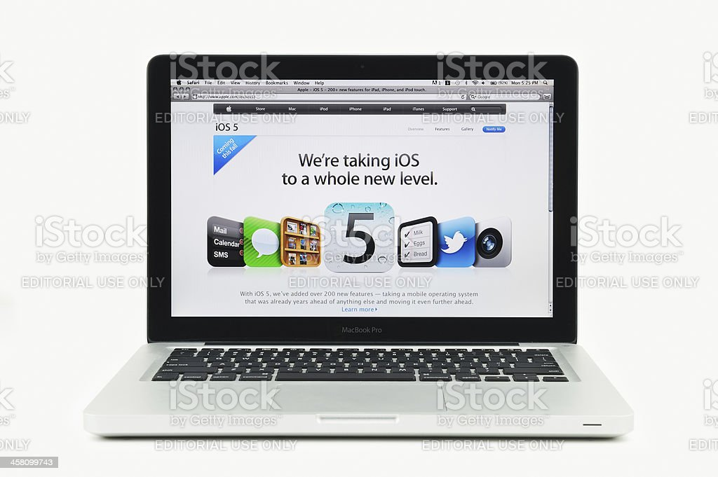 Apple Store featuring iOS Five on MacBook Pro stock photo