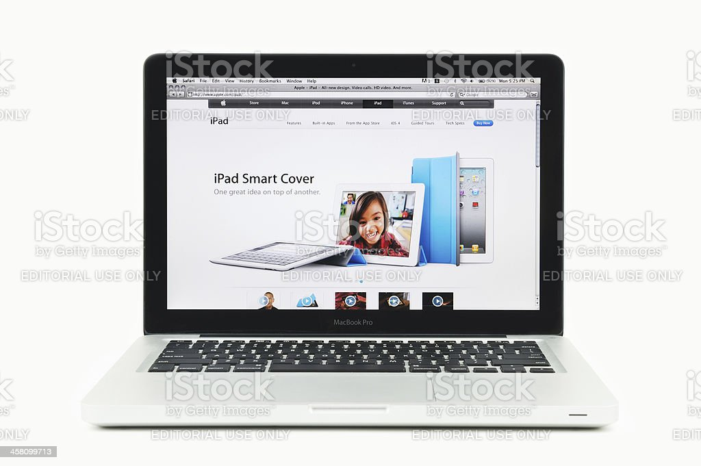 Apple Store Featuring iPad Smart Cover on a MacBook Pro royalty-free stock photo