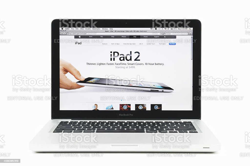 Apple Store Featuring iPad Two on a MacBook Pro royalty-free stock photo