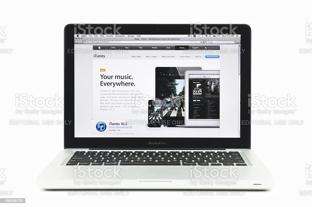 Apple Store Featuring iTunes on a MacBook Pro royalty-free stock photo