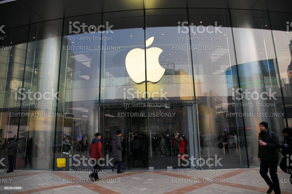 Apple Store front entrance.This Apple store is located on Wangfujing street, Beijing, China stock photo