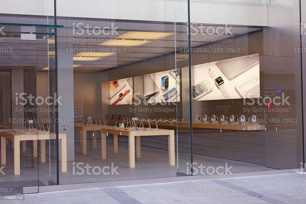 Apple store front in munic stock photo