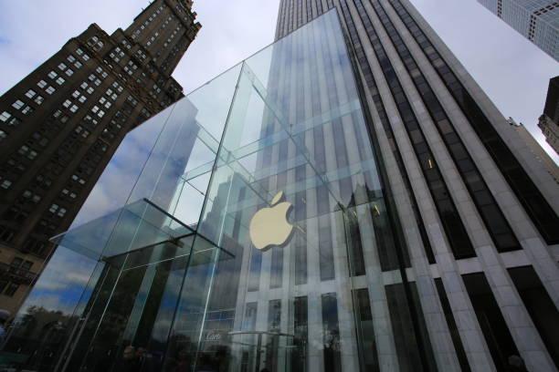 apple store in new york - apple computers foto e immagini stock