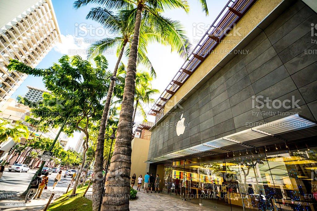 Apple store on Kalakaua Avenue, Waikiki beach stock photo