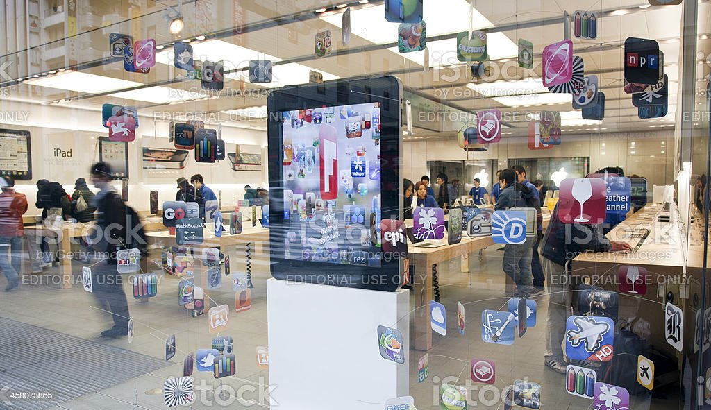 Apple store window display  Ginza Tokyo royalty-free stock photo