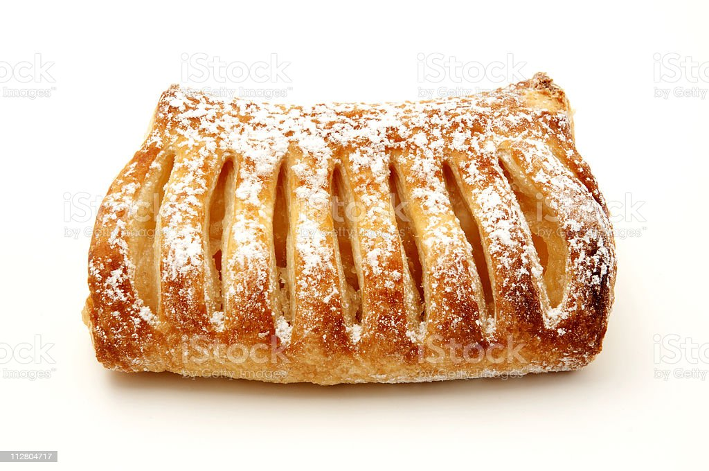Apple strudel on white background stock photo