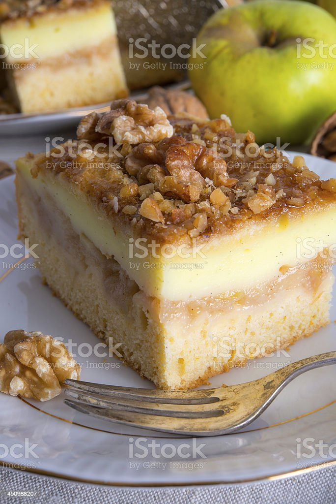 apple strudel with vanilla pudding and nuts royalty-free stock photo