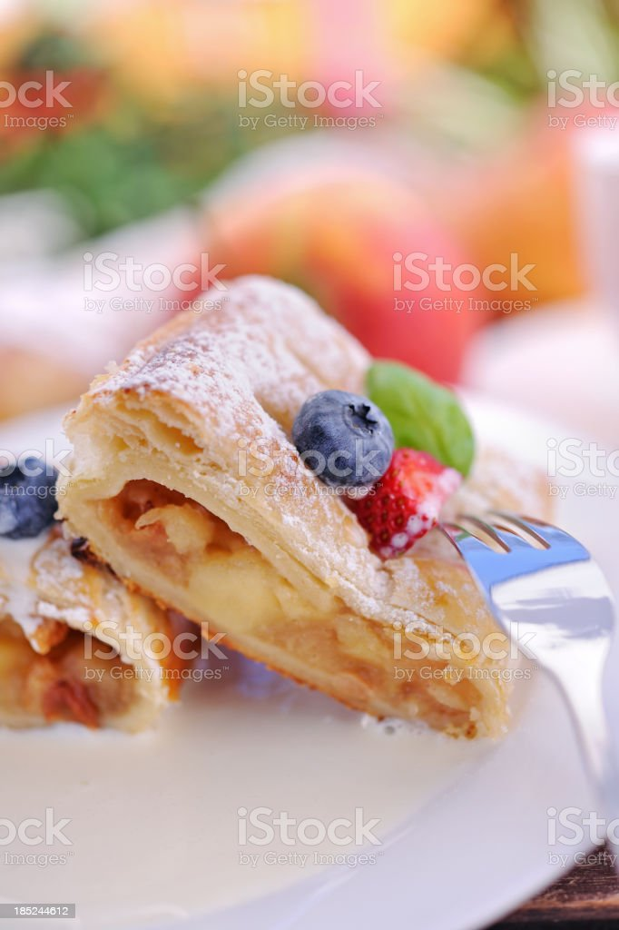 Apple strudel with vanilla sauce royalty-free stock photo