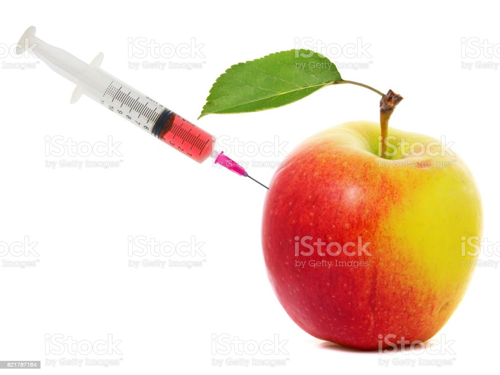 Apple stuck with syringe. Concept of genetic modification of fruits stock photo