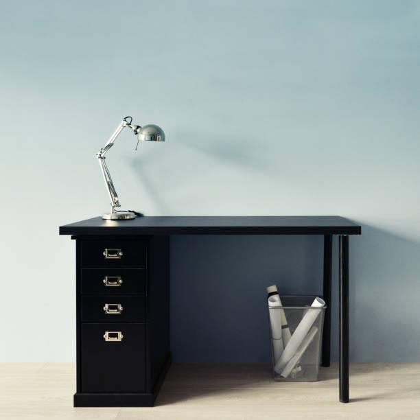 apple-stil minimalistisch arbeitsplatz - bürolampe stock-fotos und bilder