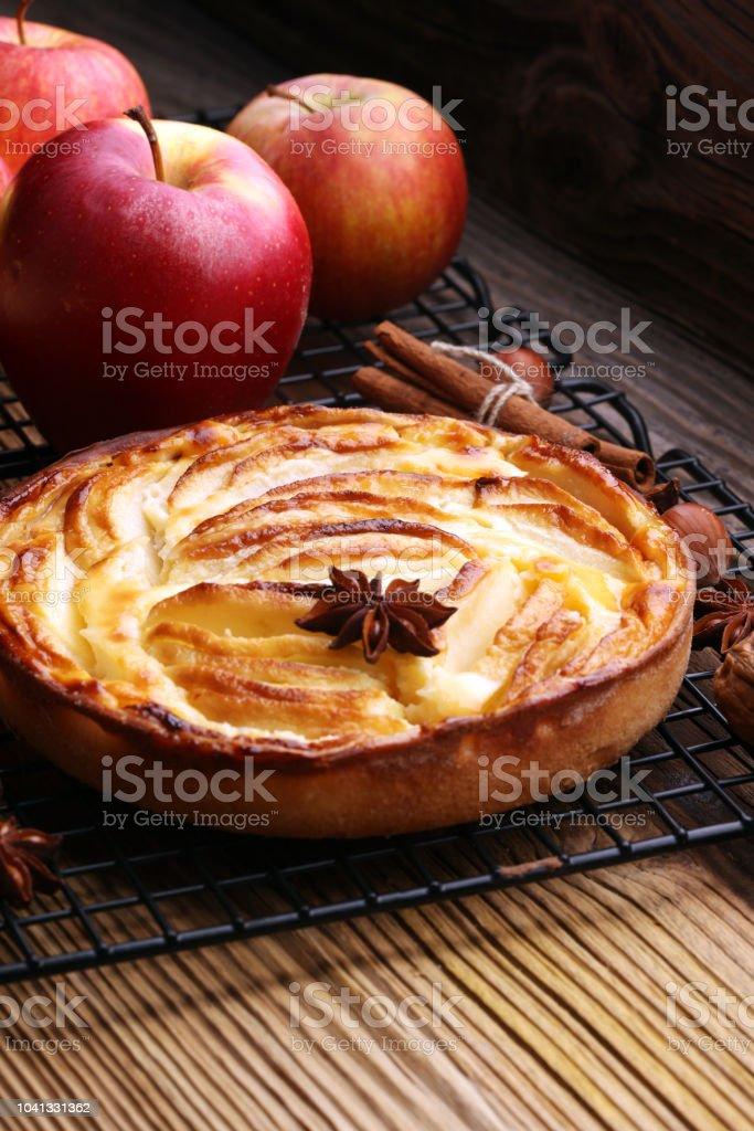 Apple tart. Gourmet traditional holiday apple pie sweet baked dessert...