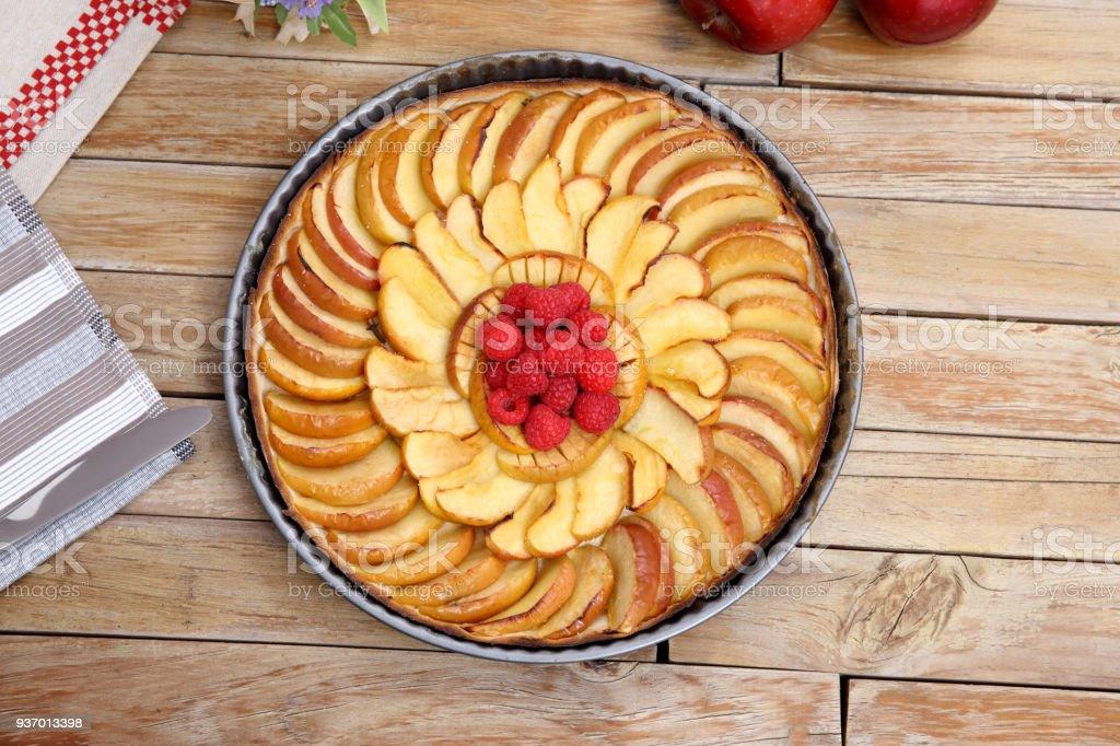 Apple Tart on wood background stock photo