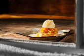 Apple Tart with ice Cream and Caramel Sauce-Photographed on a Canon EOS-1 Mark 3