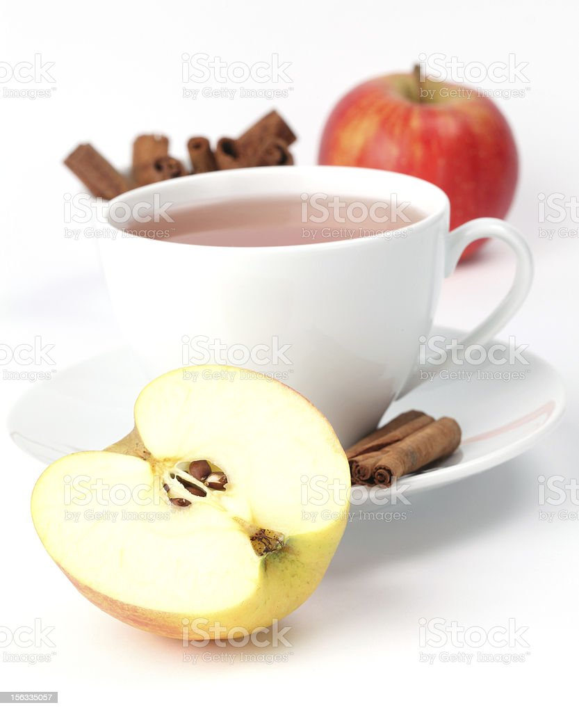 Apple tea with cinnamon royalty-free stock photo