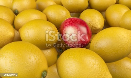 Apple textured lemon in the middle of yellow lemons. ( 3d render )