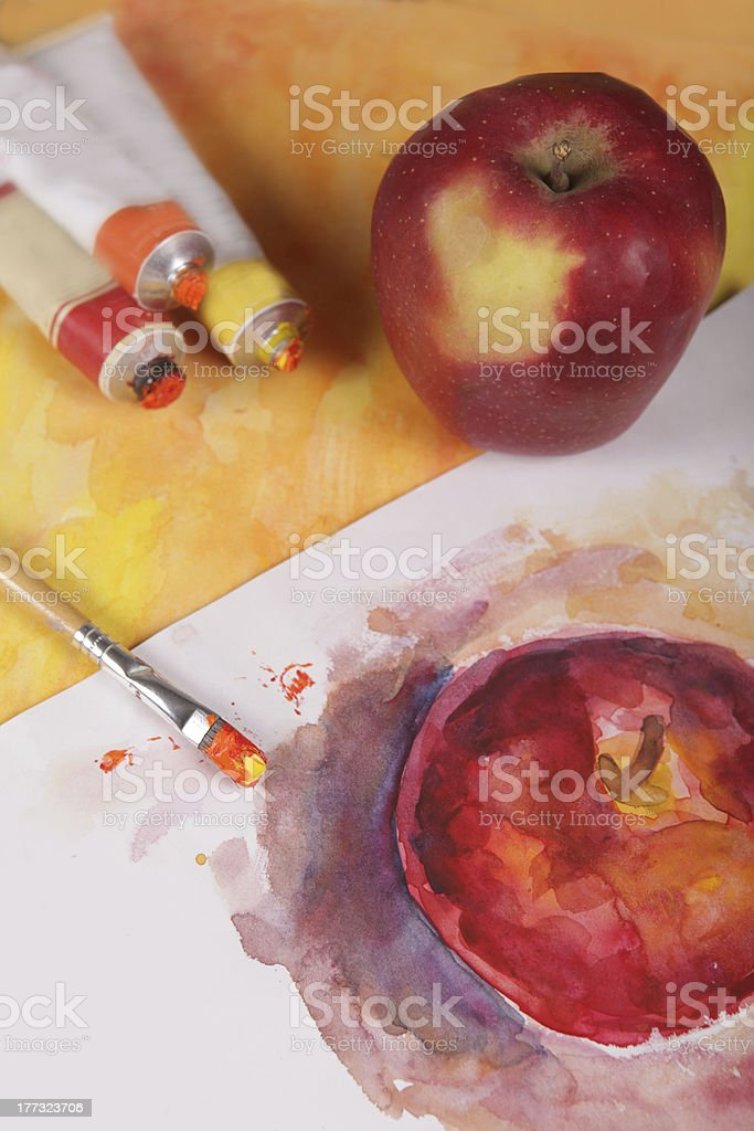 apple, tubes and paint royalty-free stock photo