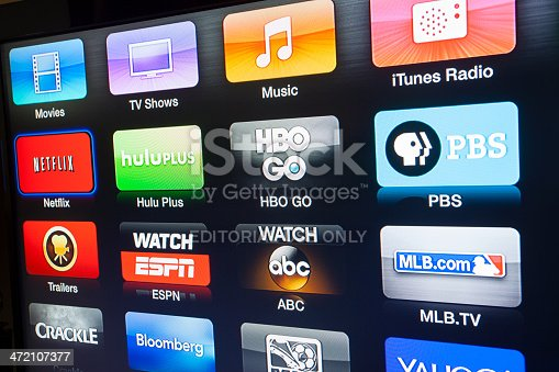 Las Vegas, USA - January 06, 2014: A photo of the Apple TV interface being displayed on a LCD television screen. Apple TV is a digital media player developed and sold by Apple Inc.