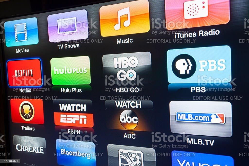 Apple TV interface stock photo