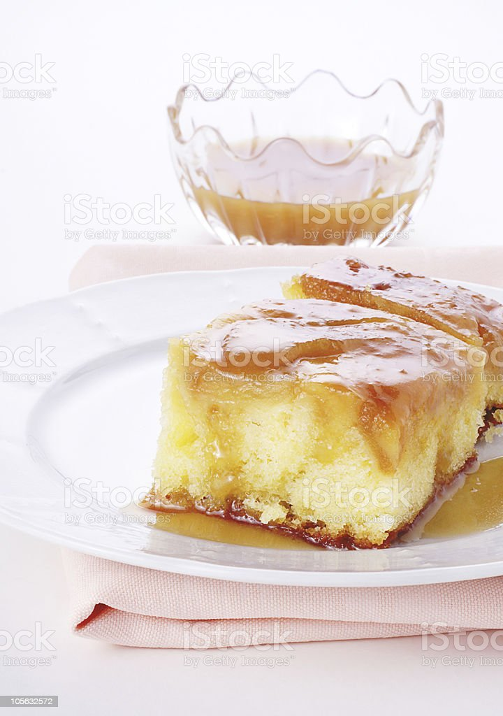 Apple upside down cake stock photo