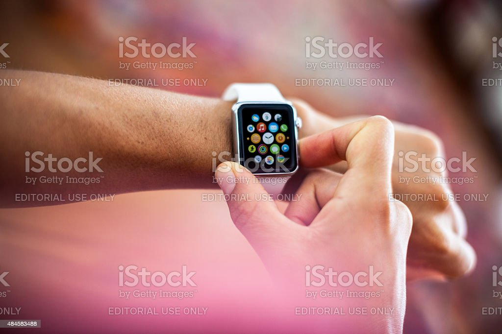 Apple Watch 38mm Stainless Steel White Sport stock photo