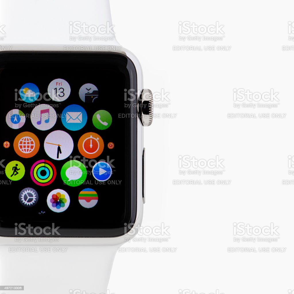 Apple Watch 38mm Stainless Still White Sport band stock photo