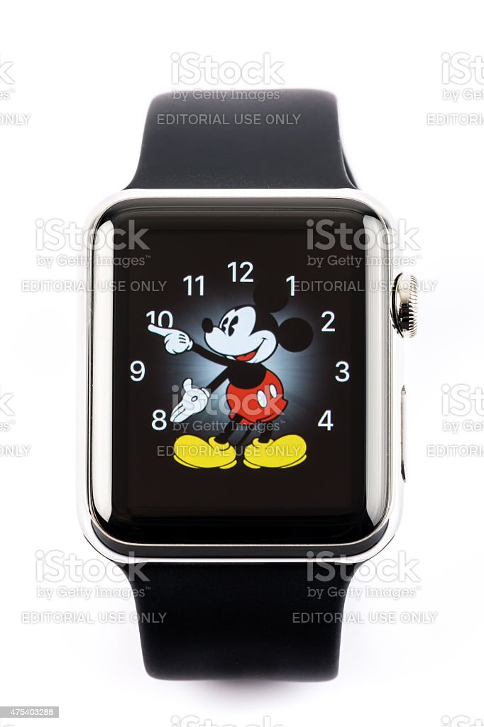 Apple Watch 42mm Stainless Steel with Black Sport Band stock photo