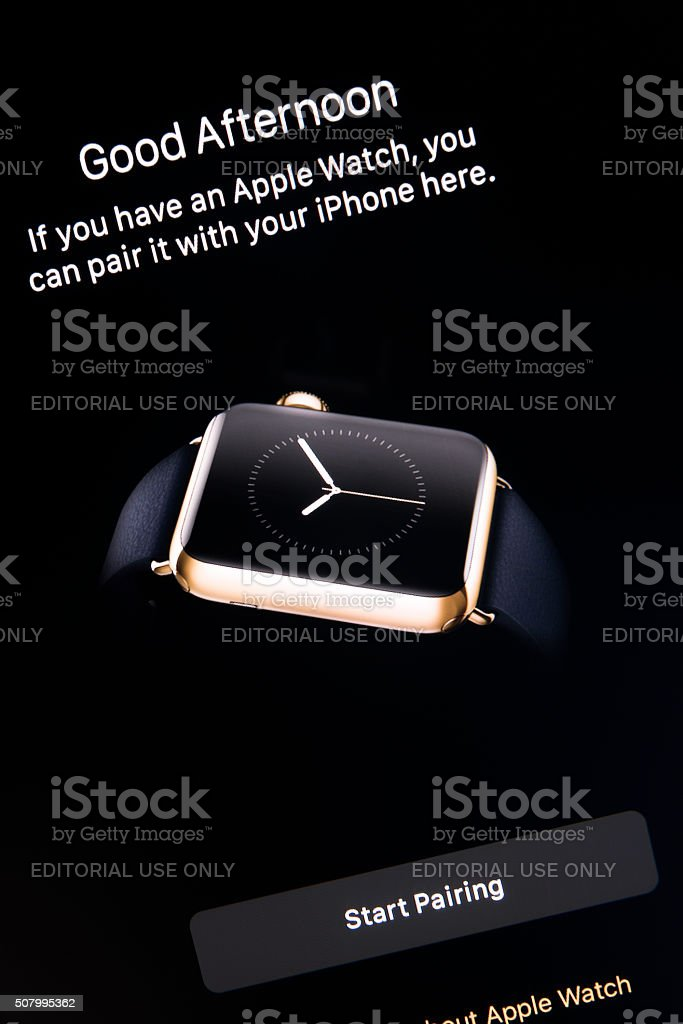 Apple Watch  app on Apple iPhone 6S Plus Screen stock photo