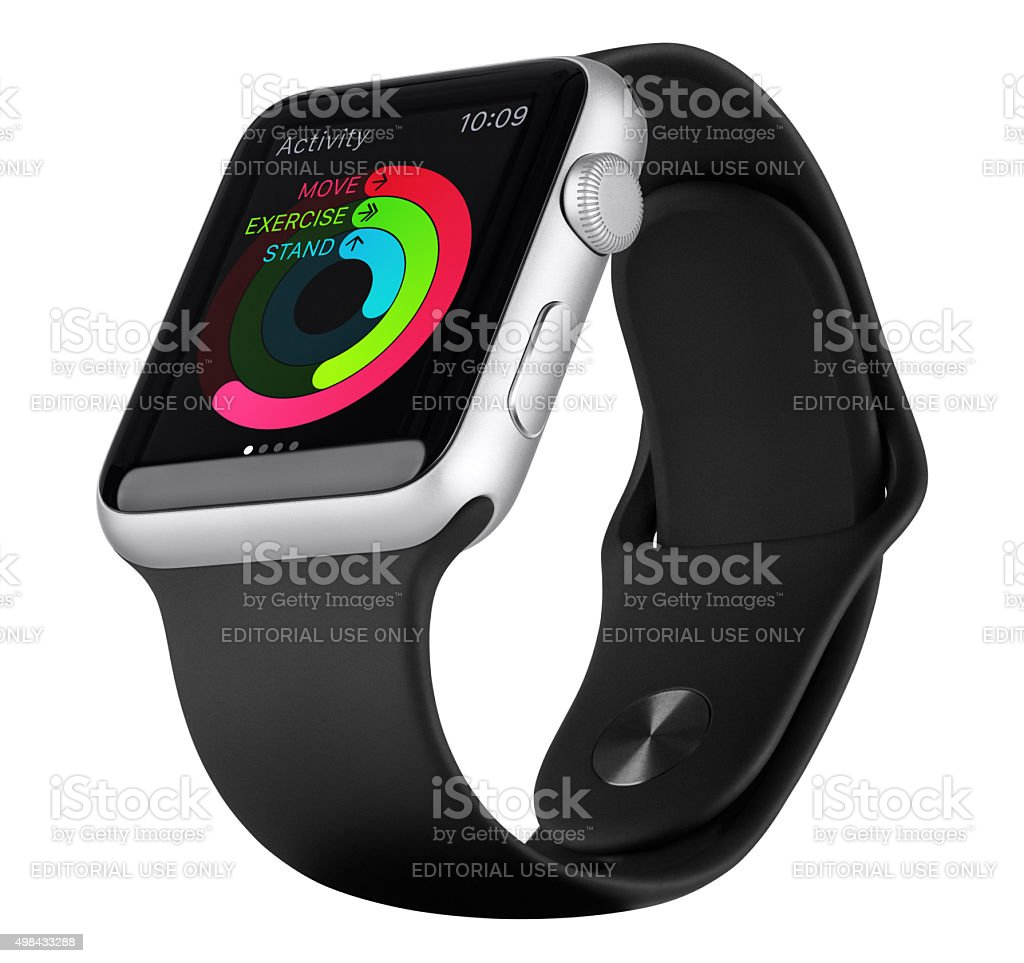 Apple Watch Sport 42mm Silver Aluminum Case with Black Band stock photo