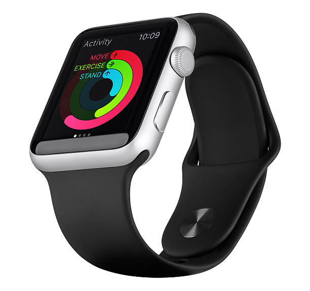 Apple Watch Sport 42 mm argent aluminium cas avec bande noir - Photo