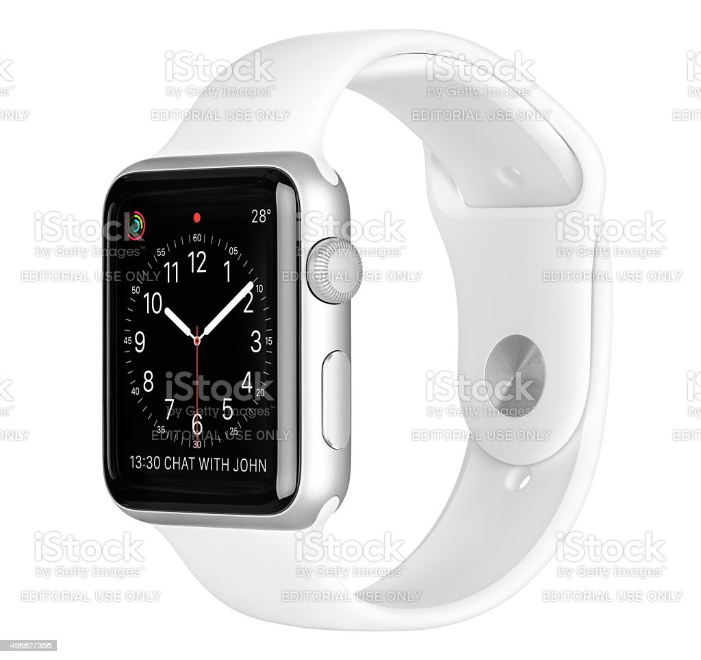 Apple Watch Sport 42mm Silver Aluminum Case with White Band stock photo