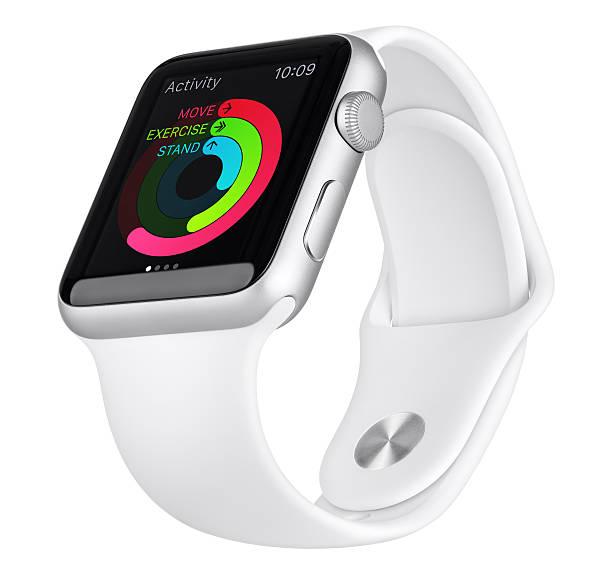 Apple Watch Sport 42 mm argent aluminium cas avec bande blanche - Photo