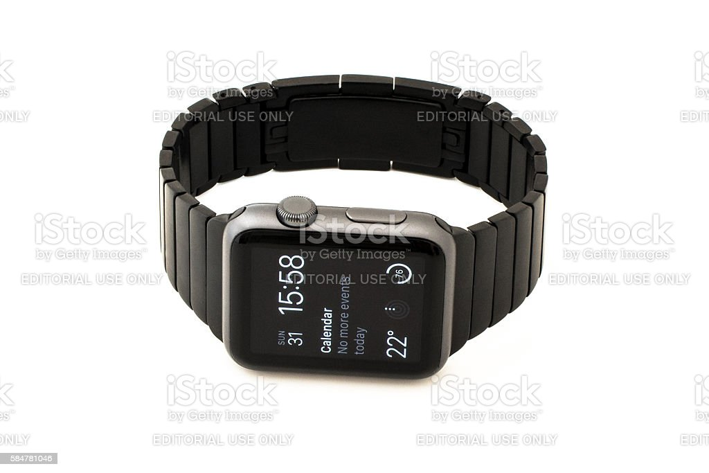 Apple Watch Sport 42mm with metal band stock photo