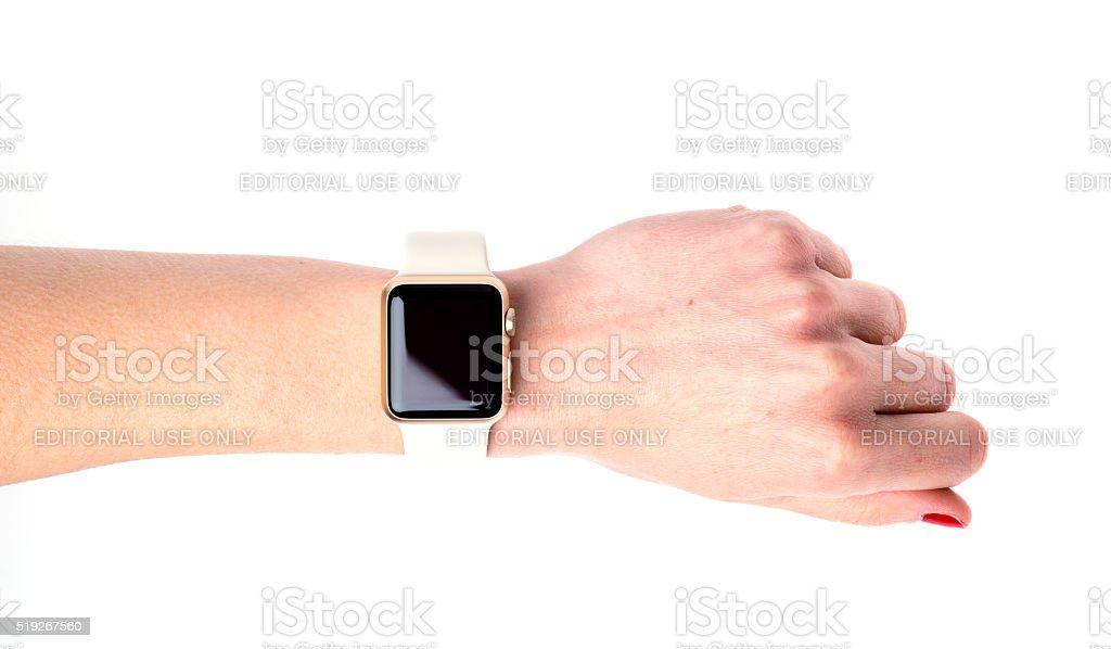 Apple Watch Sport on hand stock photo
