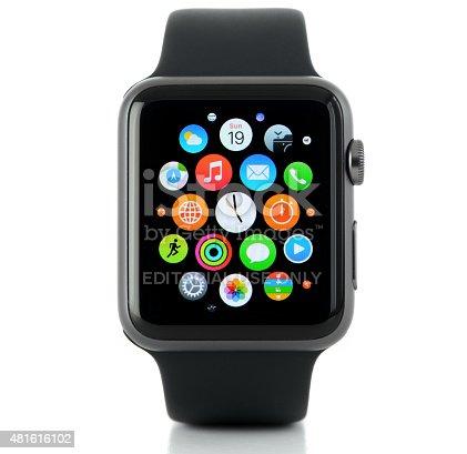 İstanbul, Turkey - July 19 2015: Apple Watch on a white background. Apple Watch is a smart watch,  developed by Apple Inc.