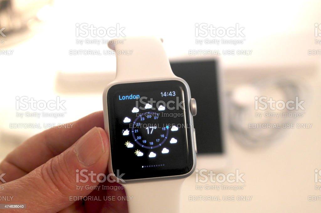 Apple Watch Weathe App stock photo