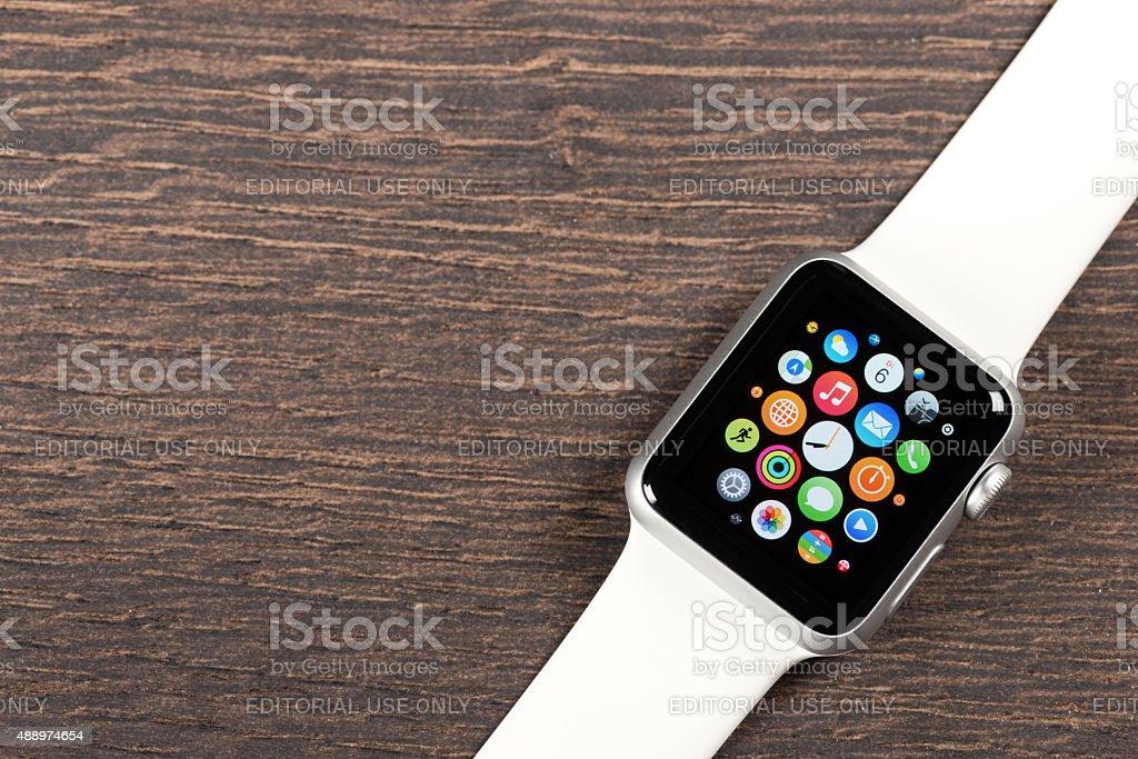 Apple white Watch stock photo