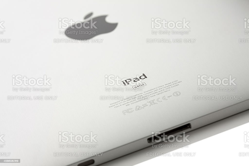 Apple Wi-Fi + 3G iPad Back Side royalty-free stock photo