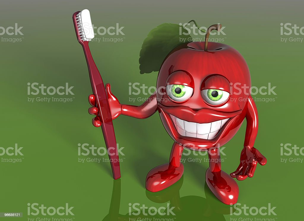 Apple with a big grin royalty-free stock photo