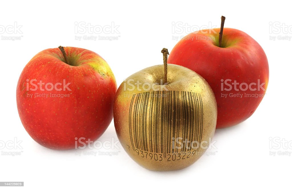 apple with bar code royalty-free stock photo
