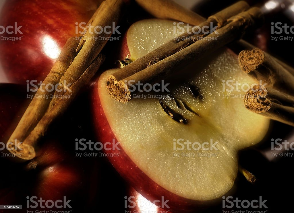 Apple with cinnamon royalty-free stock photo