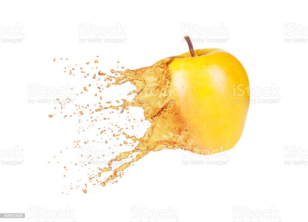 apple with juice splash isolated on white background stock photo